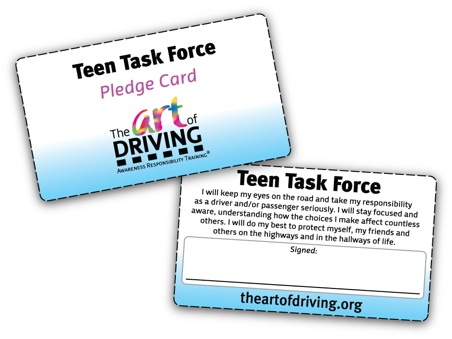 The ART of Driving pledge card.